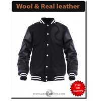 Varsity Jacket College Letterman Baseball Men Coat University Black American Unisex Wool Leather jacket