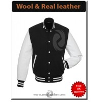College Wool Men Leather Varsity Letterman Sleeve Jackets real white leather sleeve