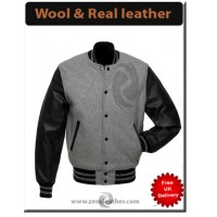 College Varsity Letterman Jacket Baseball Men American University Leather Wool Coat Style Grey Jacket