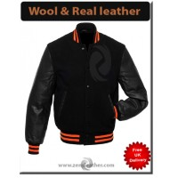 Black Leather Arm Sleeves and black Wool Varsity Jacket