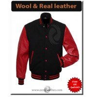 Varsity jacket real Maroon leather sleeve Wool Letterman Jacket