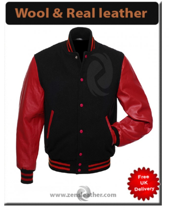 New Mens wool real leather jacket sleeves College Jacket - S, M, L,XL, Baseball Jacket
