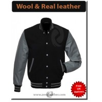 Black Wool Grey Leather Letterman Jacket Varsity Jacket