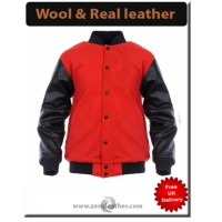 Varsity Letterman Jacket Red Wool With Black Real Leather Sleeves