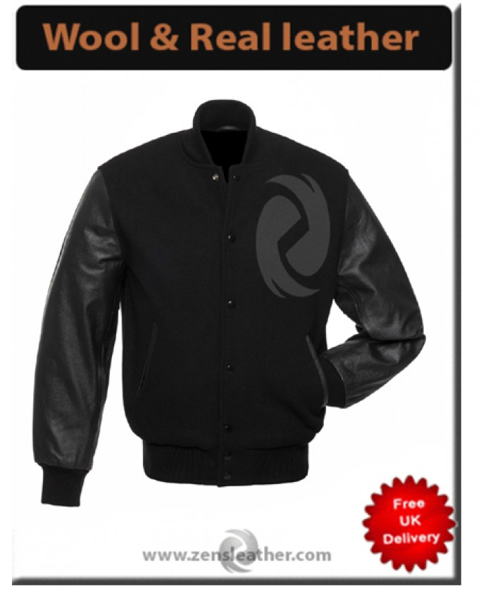 Black Jacket Wool Varsity Letterman real leather Sleeves Baseball jacket