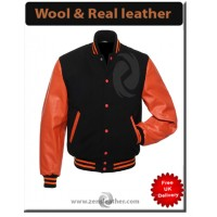 Black wool Letterman Jacket Varsity Jacket Wool & orange Leather Sleeves