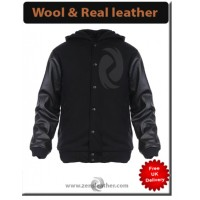 Letterman Jacket Varsity Baseball Black Leather Hooded Bomber Sleeves in leather Body Wool College Snap Front jacket