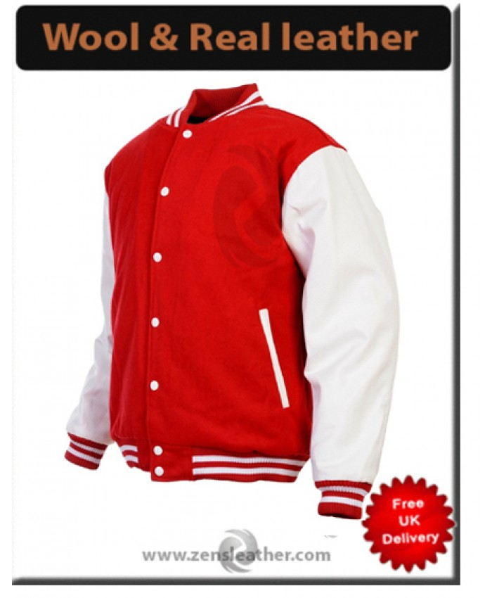 New Red wool real leather sleeves jacket College Jacket Baseball Jacket varsity jacket