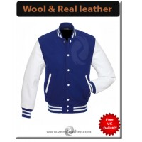Custom Jackets Letterman Baseball Varsity Jacket White Leather Sleeves Navy Blue Wool