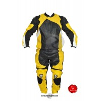 Yellow Motorbike Racing Leather Suit two piece or one piece