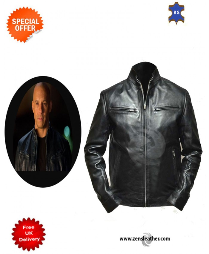 Men Leather Jacket Fast and Furious 6 Dominic Vin Diesel Black Leather Jacket