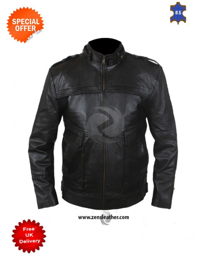 Men's Fashion Real Sheep/cowhide Leather Military Style Biker Jacket