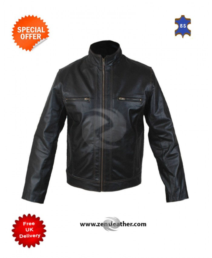 New Men's Stylish Retro Motorcycle Fashion Cowhide Leather Jacket with Red Stripes