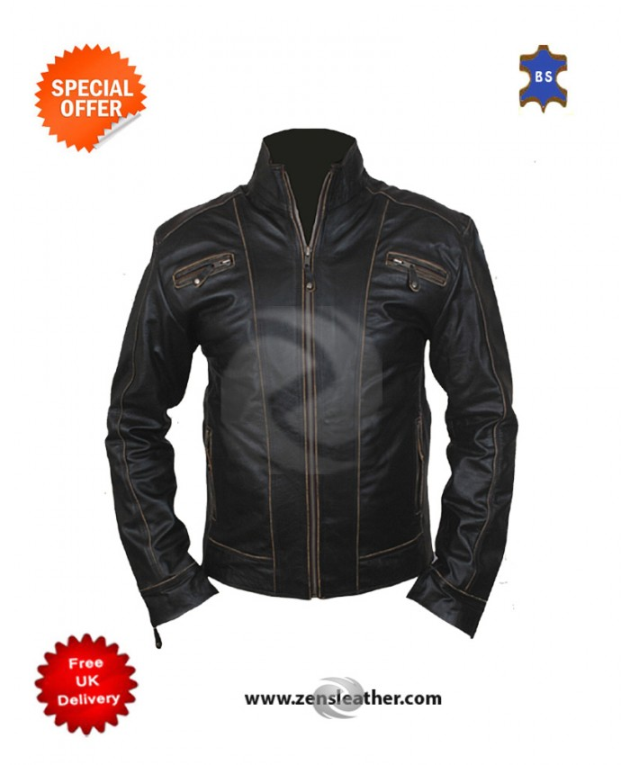 New latest design Men's Rock Star Fashion/Motorbike Genuine Leather Jacket
