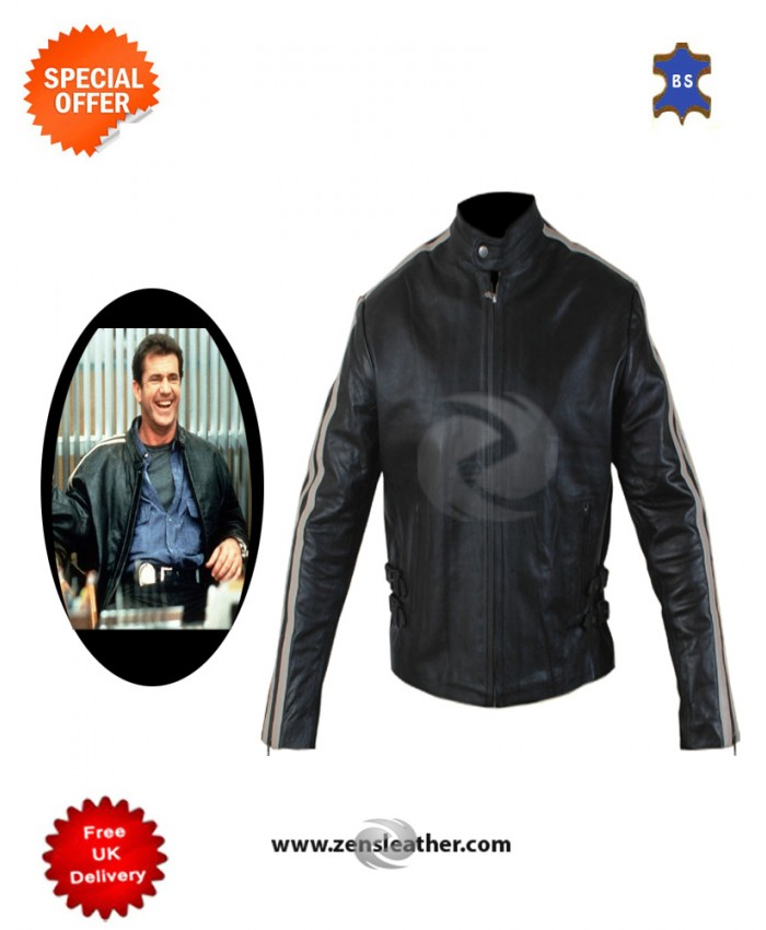 Mel Gibson Lethal weapon leather jacket Men chopper white strip jacket