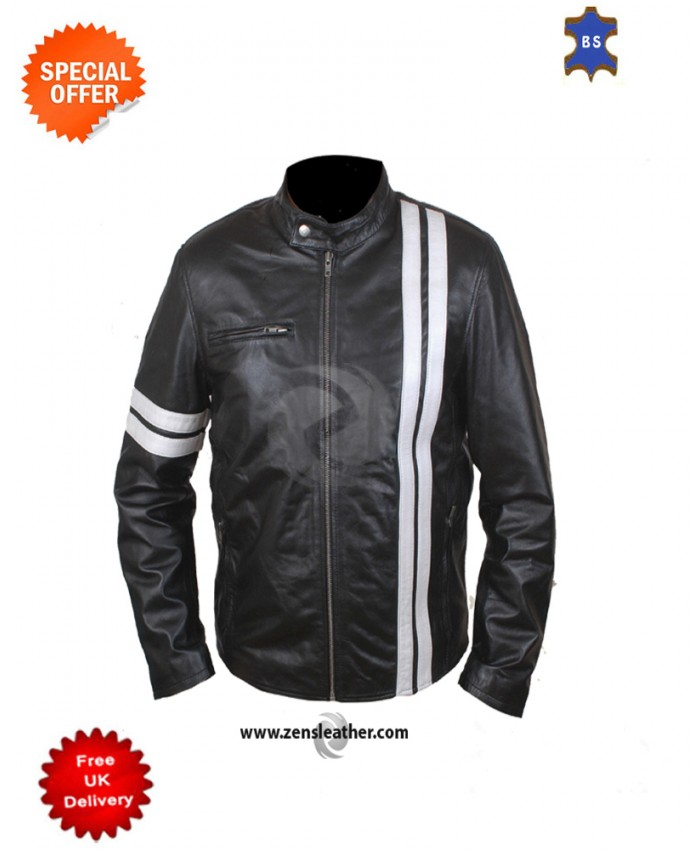 Black Leather Jacket with With Stripes similar to worn by john turner in Driver
