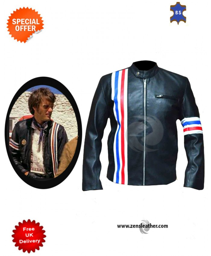 US Flag Peter Fonda Genuine Cow Leather Biker Jacket with strips