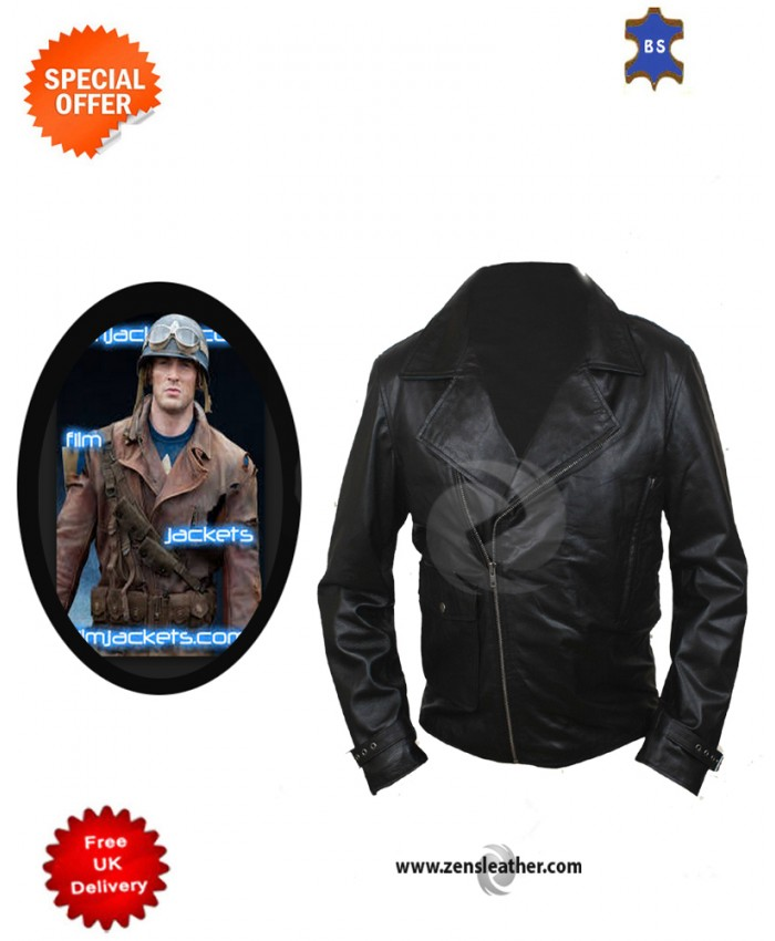 First Avenger Chris Evans Cow Hide Biker Stylish chopper Leather Jacket