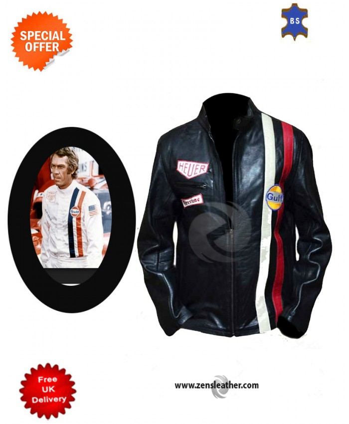 Steve Mcqueen Gulf Men's Stylish Look Biker Motorcycle Leather Jacket