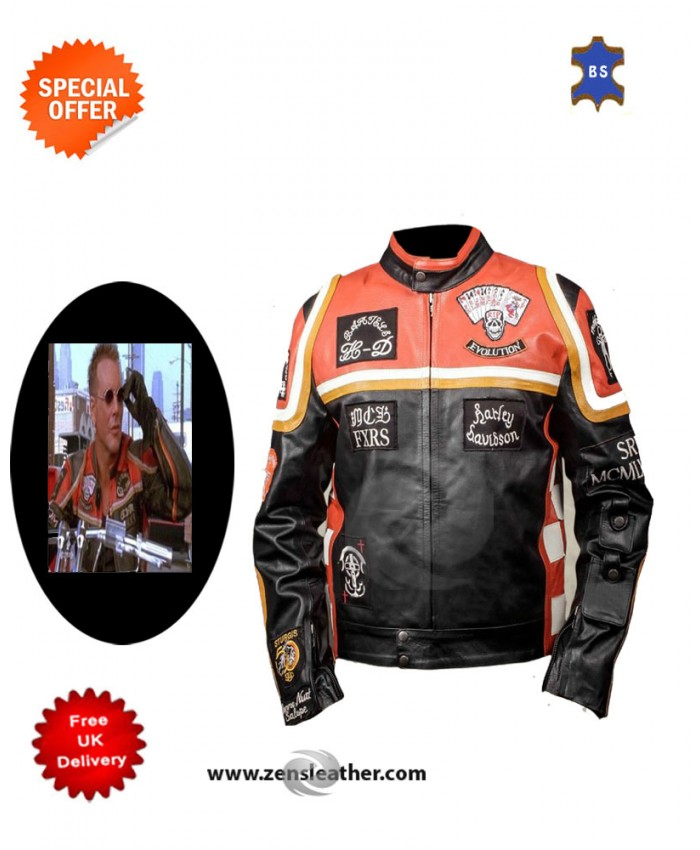 Mickey Rourke motorbike/Motorcycle Men's Genuine Leather Jacket