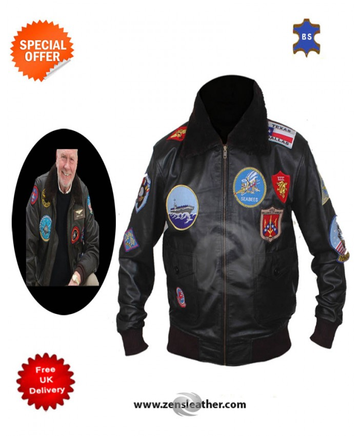 Top Gun Men's Bomber Pilot Leather Jacket in Black Genuine cow leather