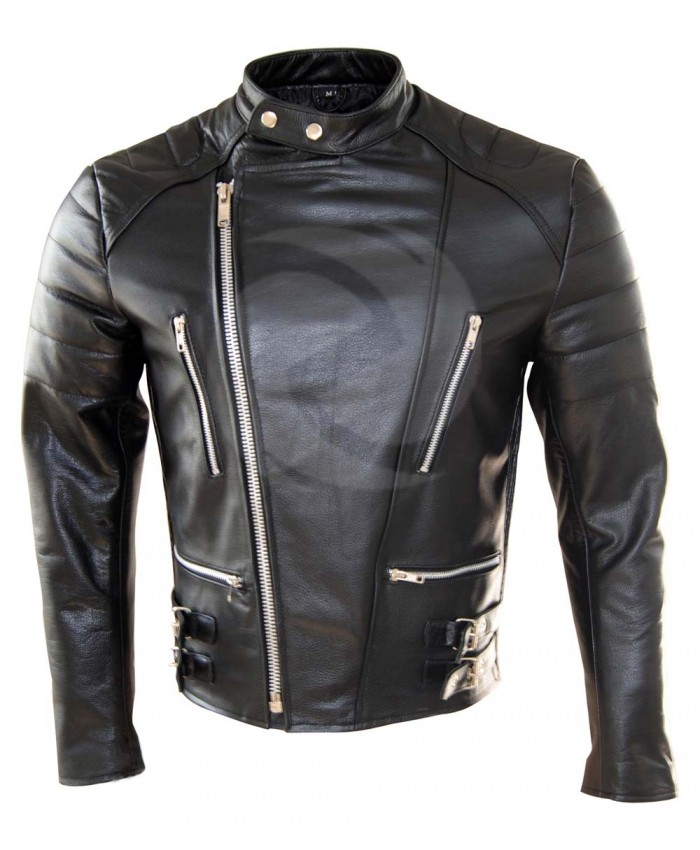 Black Racing Leather Motorbike Jacket Flop Jacket