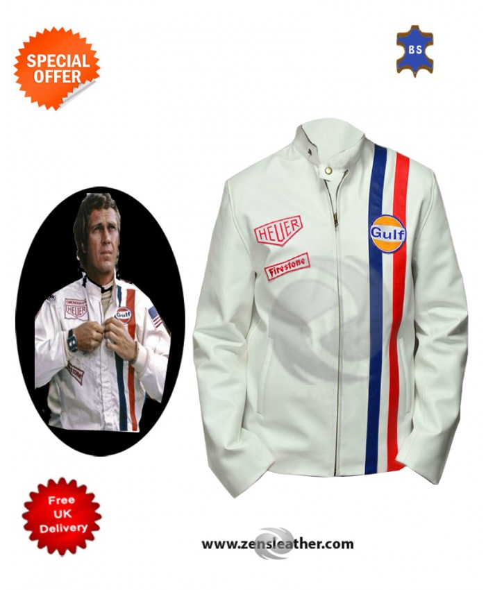 Steve Mcqueen Gulf White Men's Stylish Look Biker Motorcycle Leather Jacket