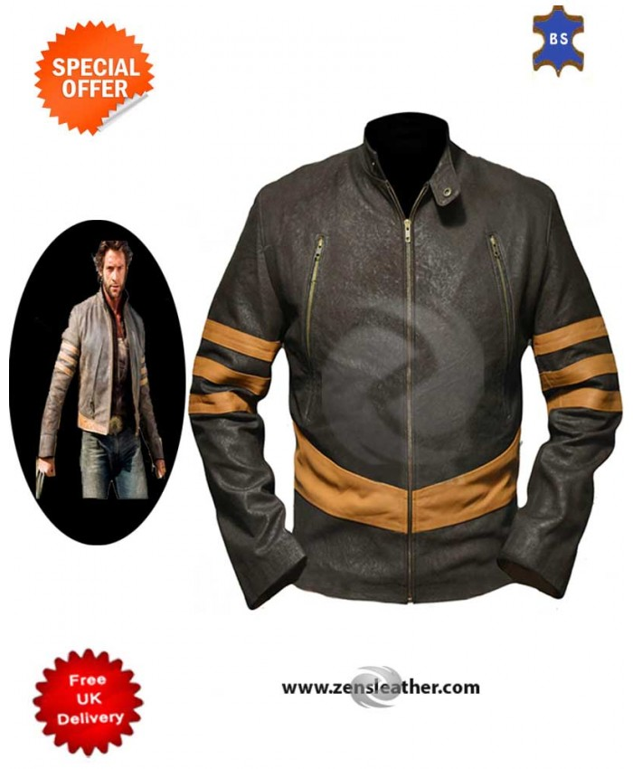 X-Men Origins  Jack Man Sheep Leather Distressed Look Jacket Genuine Cow Leather