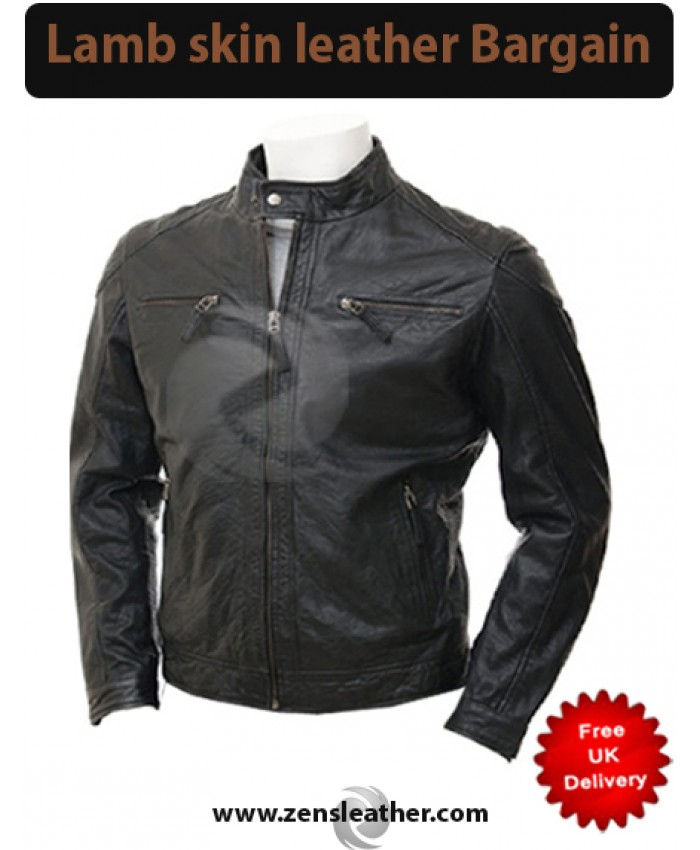 Black Leather Fashion Jacket in lamb skin leather
