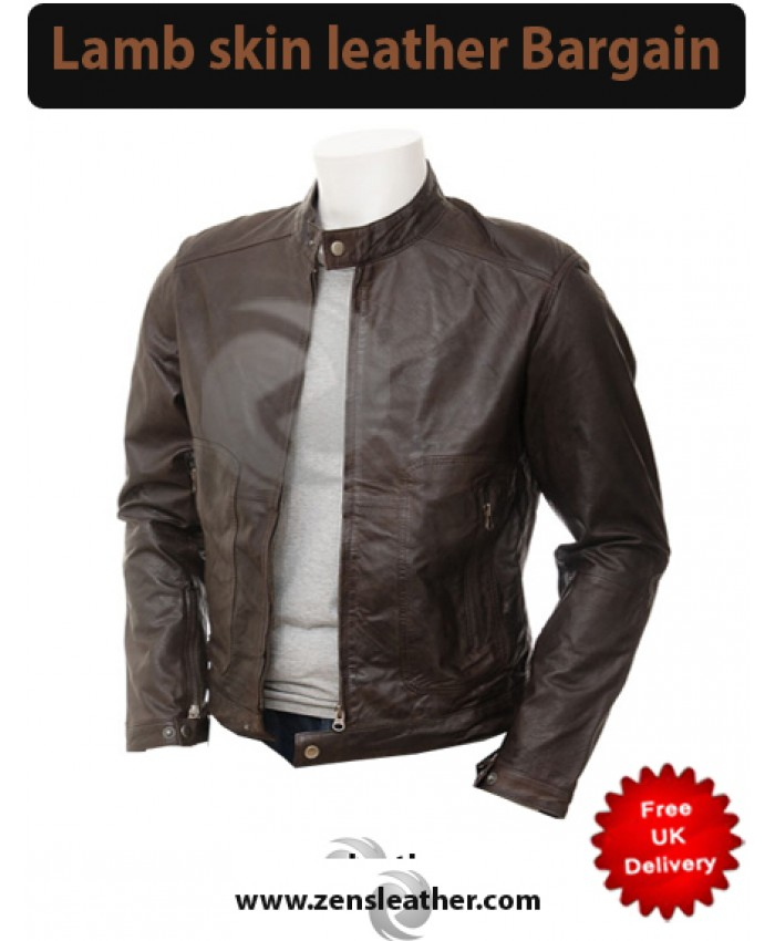 Casual Fit Leather Jacket in Brown
