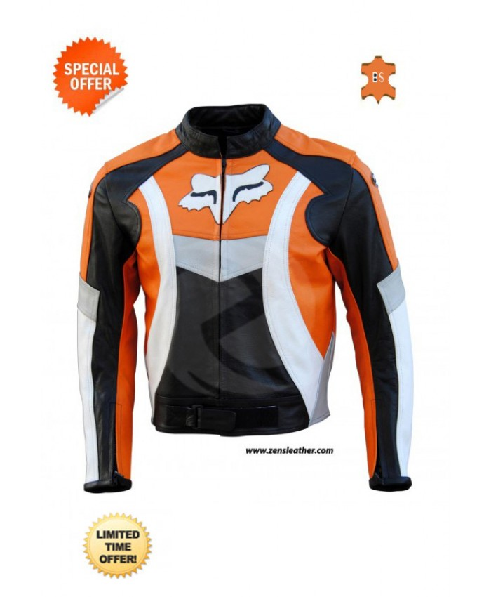 Motorbike Leather Jacket - orange