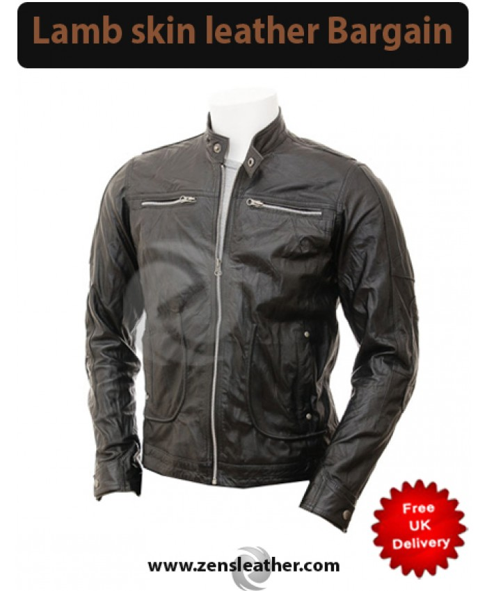 Black distress leather jacket men fashion black jacket in lamb skin