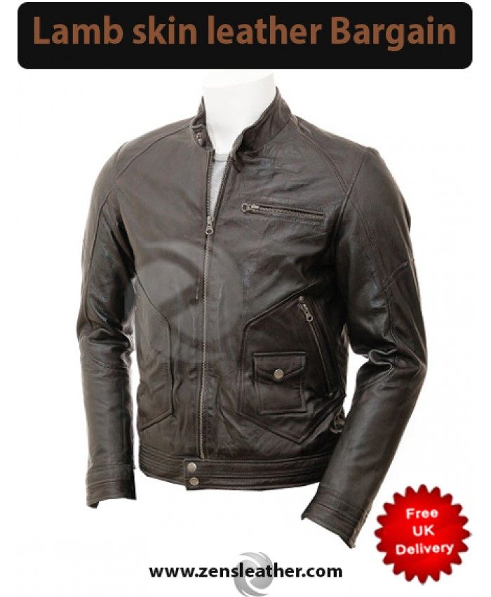 Mens dark Brown Distress Quilt leather Jacket