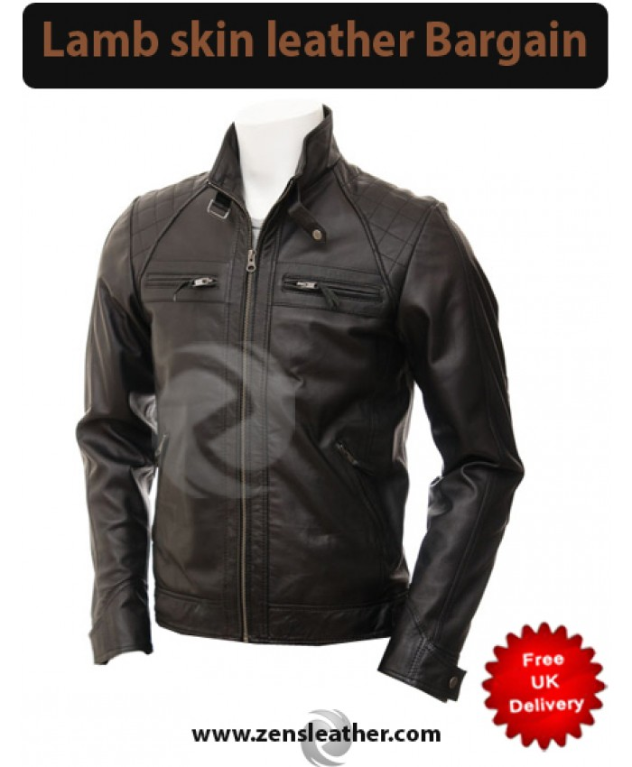 Mens Black Leather Motorcycle Jacket style With Diamond Pattern
