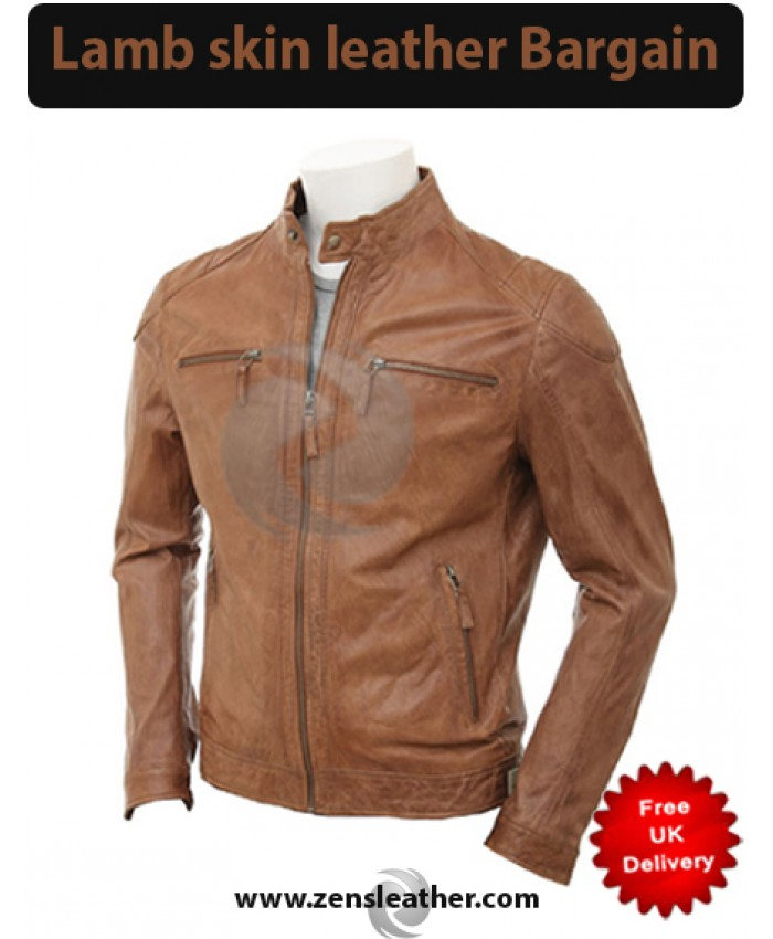 Branded Light Brown Mens Leather Jacket