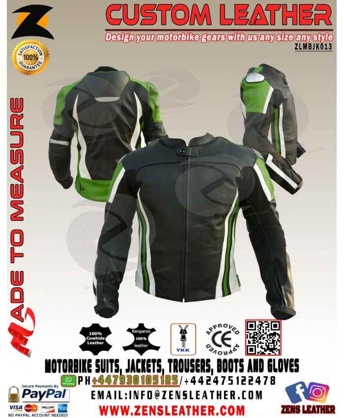 Kawasaki green motorbike leather jacket with speed hump any size colour racing leather jacket