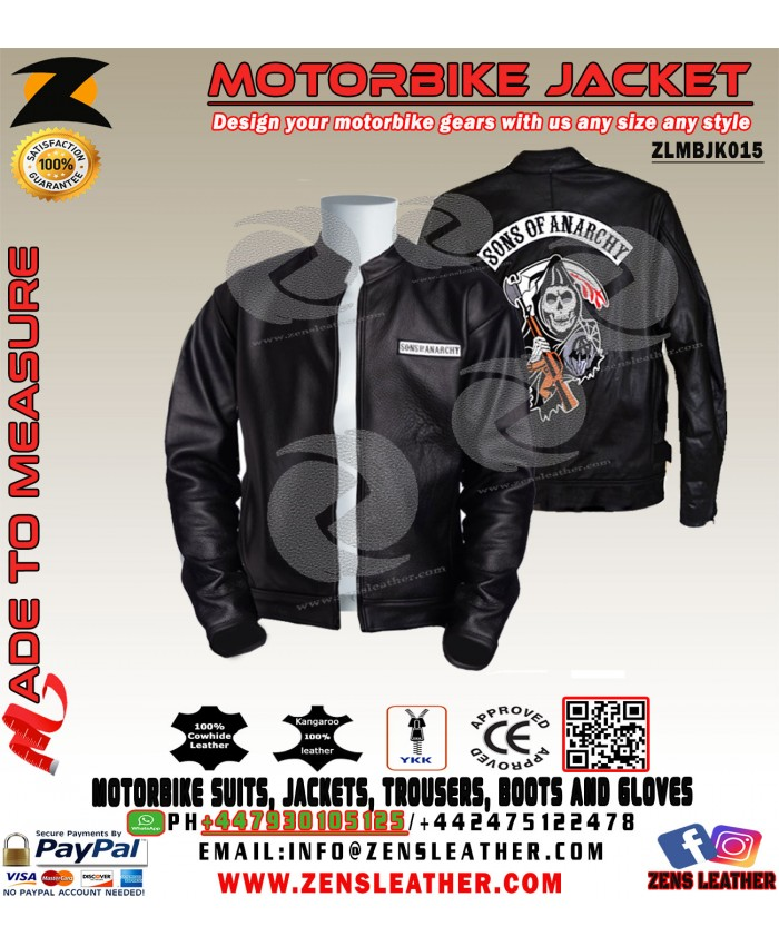 Sons of anarchy jacket genuine leather jacket and embroidered patches