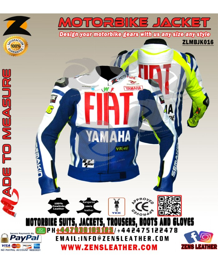 Yamaha Fiat cowhide leather motorbike racing jacket CE approved Armours