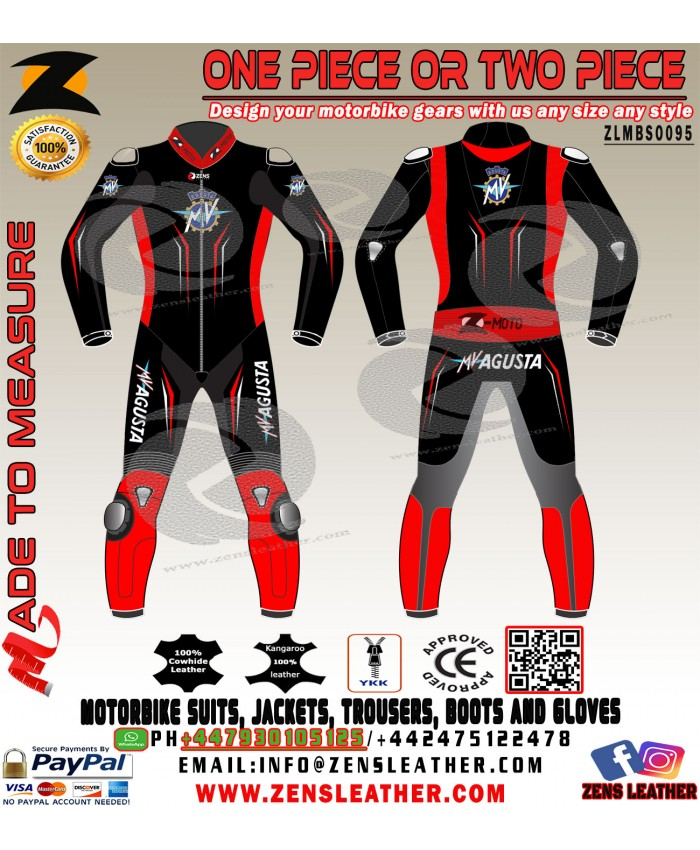 MV AGUSTA black and red racing leather suit motogp racing track gear