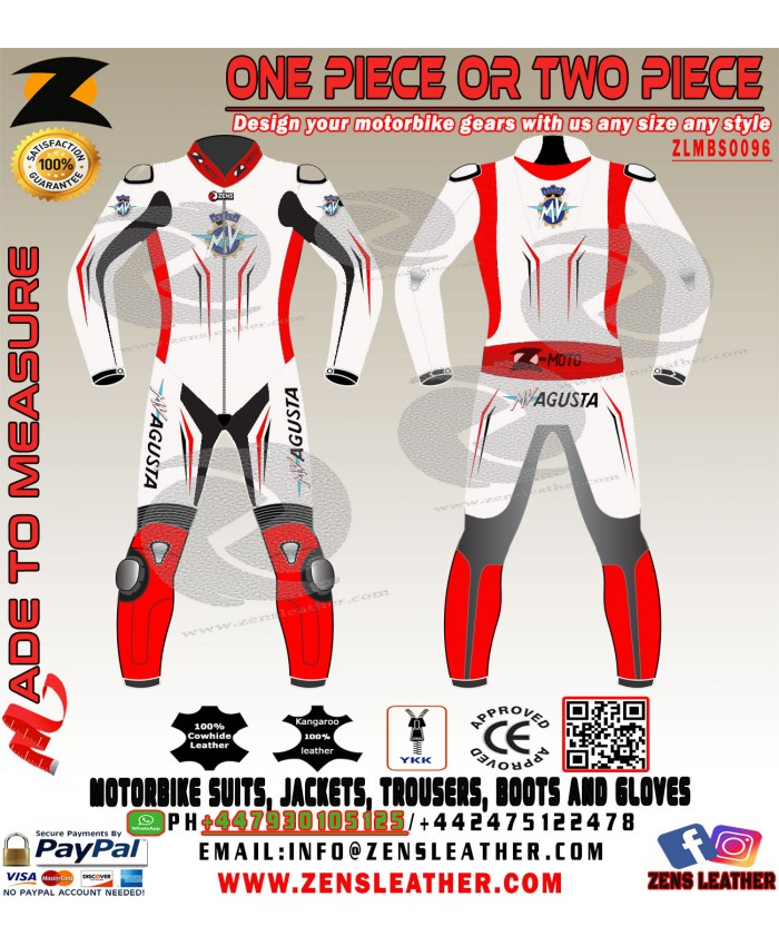 MV AGUSTA white and red racing leather suit motogp racing track gear