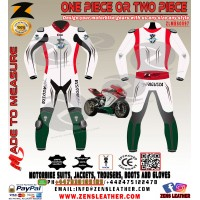 MV AGUSTA white and green racing leather suit motogp racing track gear