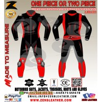Zens Leathers Evo Black red Bike Leather suit racing one piece gear