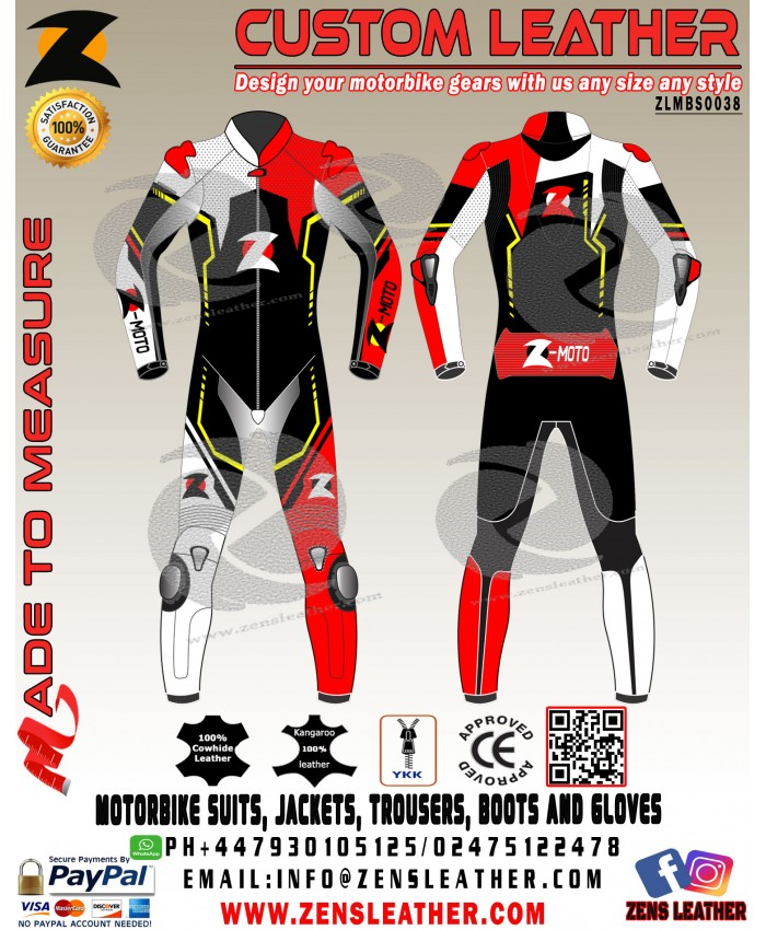Zens GP racing motorbike leather suit one piece or two piece any size any colour