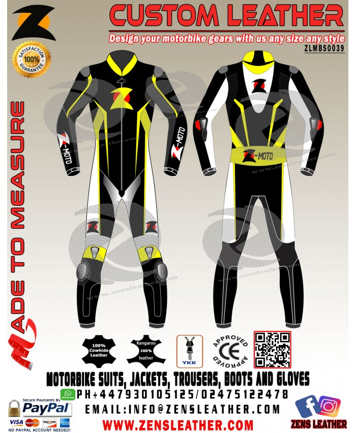 Zens Yellow and black one piece leather suit fully customize to two piece front perforated sbk racing style suit