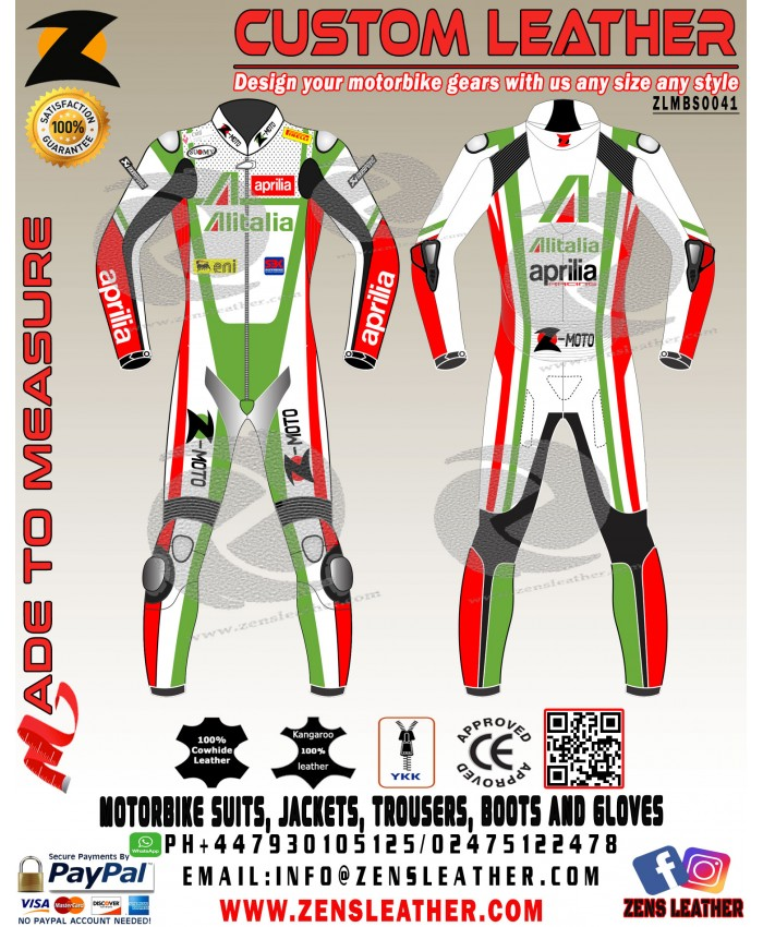 Max Biaggi style leather suit aprilia racing leather gears in one piece or two piece any size
