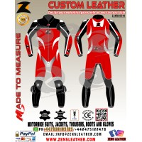 Red and black racing leather suit motorcycle racing gears suitable for tracks with ce armours