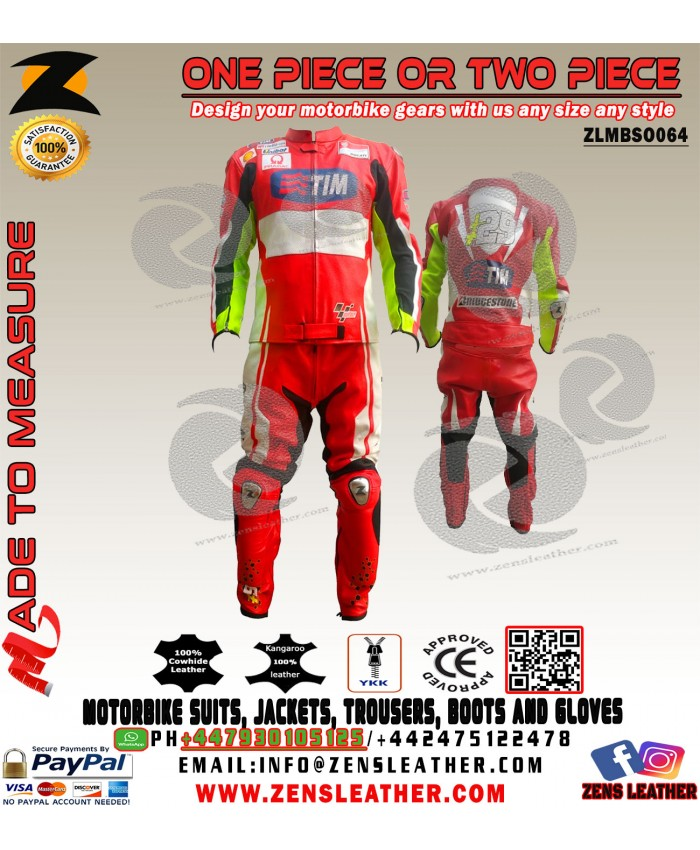 Custom made Racing Leather Suit rossi style red motorbike leathers