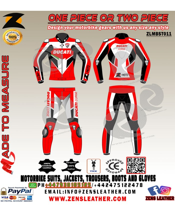 Two piece Ducati corse motorbike leather suit any size free uk delivery