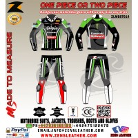 Tom sykes style kawasaki racing leather suit two piece ninja motorbike gear