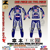 Blue Yamaha r1 Sbk leather suit similar to Van der Mark motorbike gear